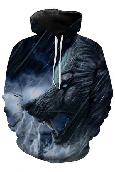 Wolf Fashion Long Sleeve Printed Oversize Hoodie Digital Casual War Leisure BBqpErfx