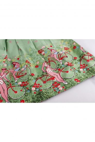 Polka New Printed Retro Midi Flared Cartoon Biker Sleeveless Dress Girls Dot Arrival An6qa1fF