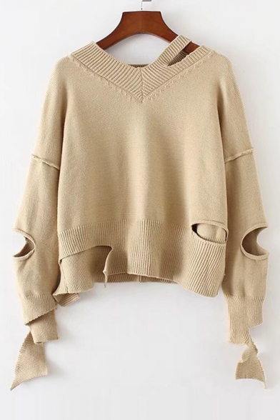 New Fashion Hollow Out V Neck Long Sleeve Simple Plain Pullover Sweater