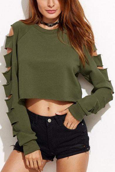 New Stylish Hollow Out Long Sleeve Round Neck Plain Cropped Sweatshirt