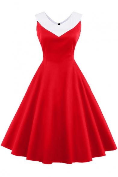 Vintage Fashion Color Block V Neck Sleeveless Graceful Midi Flared Dress