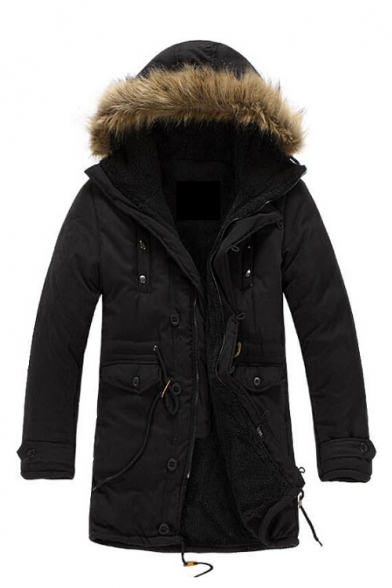 Long Hooded Coat Up Warm Fur Winter's Sleeve Zip Plain Simple Cotton nIF5AqxAO