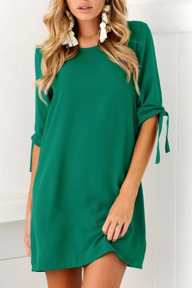 Neck Round T Sleeve Shirt Basic Mini Plain Dress Leisure Casual Half ESgq5gwxTF