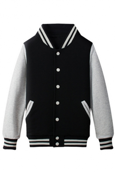 Basic Simple Stand-Up Collar Long Sleeve Color Block Buttons Down Baseball Jacket