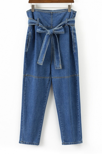 Belted High Waist Straight Leg Denim Long Jeans with Pockets