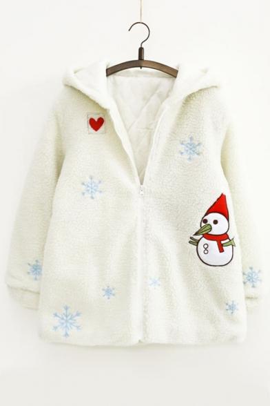 Cartoon Snowman Embroidered Long Sleeve Hooded Zip Up Fur Coat