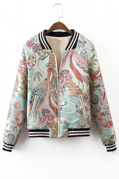 Chic Floral Crane Random Embroidered Contrast Stand-Up Collar Zip Up Baseball Jacket