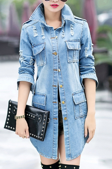 94b62bef66 Fashion Ripped Out Simple Plain Long Sleeve Lapel Collar Buttons Down Denim  Coat ...