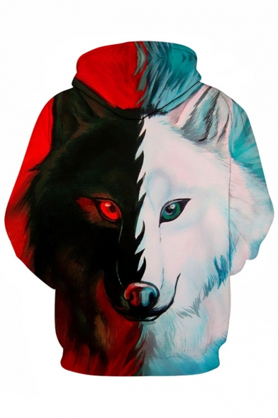 New 3D Color Sleeve Hoodie Arrival Long Wolf Pattern Casual Sports Block rrwfEaqx