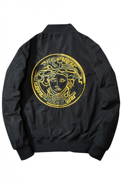 New Stylish Fashion Embroidered Back Stand-Up Collar Zip Up Bomber Jacket