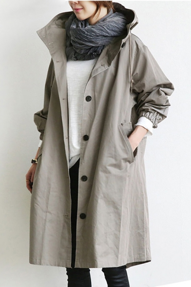 Hooded Trench Coat Sleeve Plain Oversize with Long Down Pockets Button nwqwUx1W