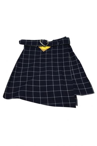 School Girls' Fashion Classic Plaids Pattern Zip Up Side Mini A-Line Skirt