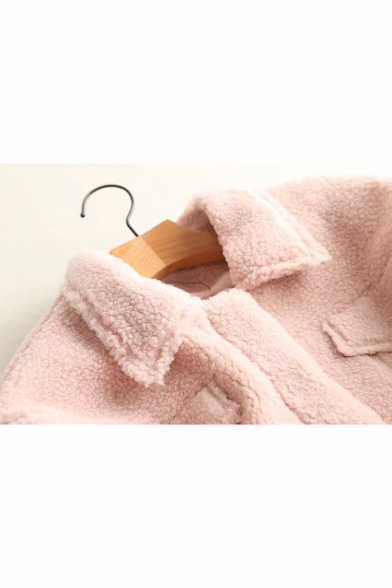 Lapel Coat Pockets Warm with Collar Sleeve Long Plain Simple Lamb Basic Wool wUqTtx