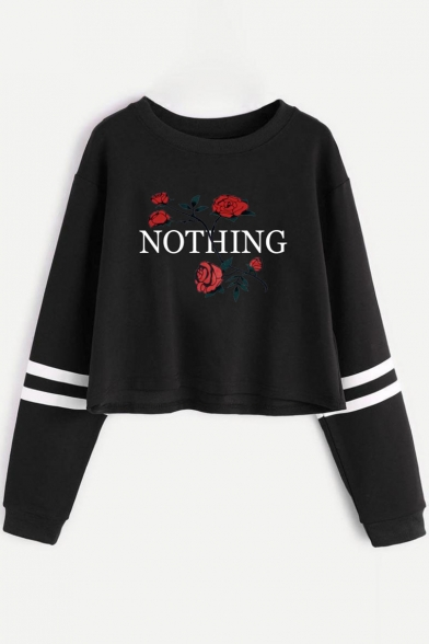 Letter Sports Floral Cropped Long Pattern Chic Neck Round Sweatshirt Sleeve Leisure HA5xSxwqU