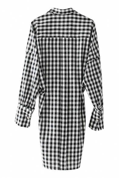 Lapel Plaids Leisure Classic Blouse Collar Printed Long Tunic Sleeve BZwE4qpw
