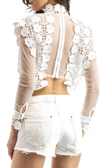 Fashion High Neck Long Sleeve Sexy Sheer Lace Inserted Cropped Blouse