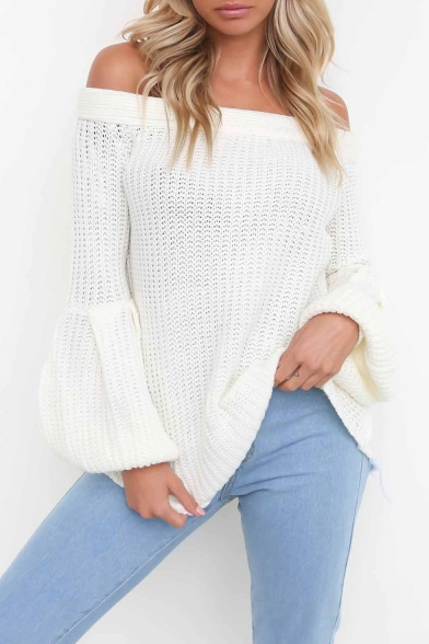 Sexy Popular Long The Off Simple Sleeve Sweater Plain Shoulder Hot BPwq566