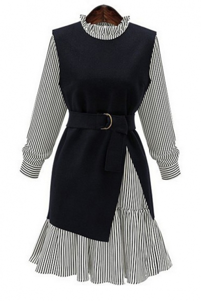 Chic Sleeve A New Plain Vest Striped Round Line Dress Long Neck with Print Arrival FCqwZ