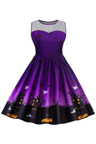 New Stylish Halloween Cartoon Pumpkin Printed Fit Flared Midi Dress