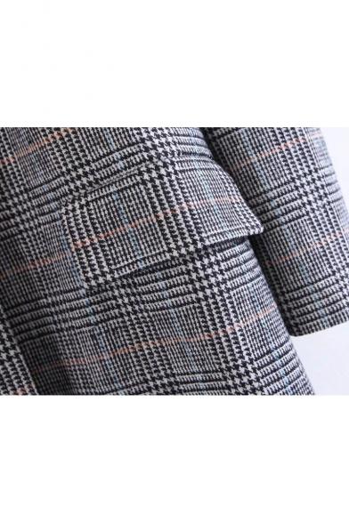 Coat Button Lapel Notched Classic Single Long Blazer with Plaids Collar Long Sleeve Print zTCwqd7x