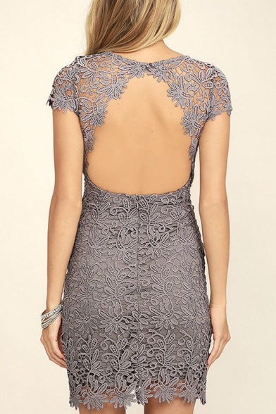 Sexy Open Back Round Neck Cap Sleeve Simple Plain Lace Mini Dress