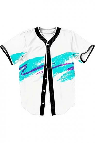 Splash-Ink Color Block V Neck Short Sleeve Buttons Down Shirt