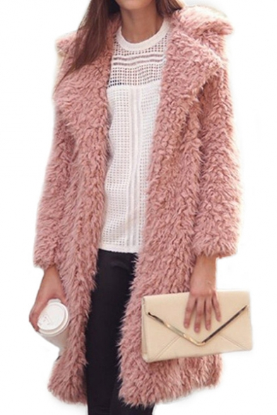 Winter's Hot Fashion Basic Plain Notched Lapel Collar Long Sleeve Fur Coat