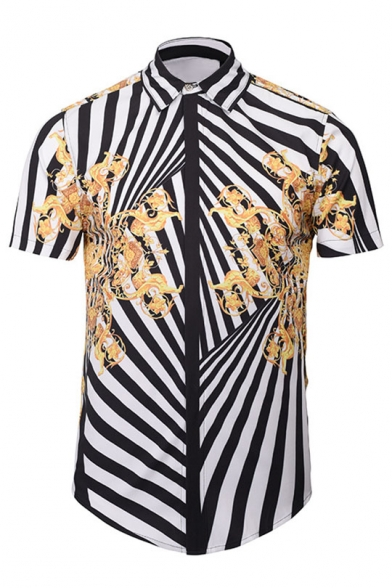 Image of 3D Fashion Digital Striped Printed Lapel Collar Short Sleeve Buttons Down Shirt