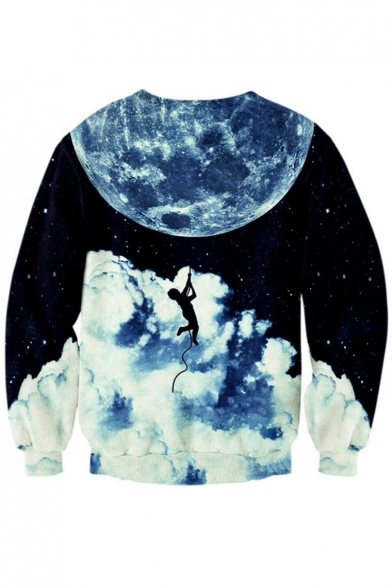 Sweatshirt Pullover Casual Long Galaxy Round Sports Pattern Digital Sleeve Neck vwHvTP6q