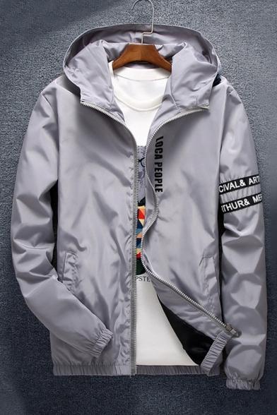 Color Block Letter Print Hooded Unisex Long Sleeve Coat