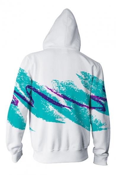 Zip Digital Long Sleeve Hoodie Color Splash Block Print Casual Up Ink Unisex 8w18H6rq