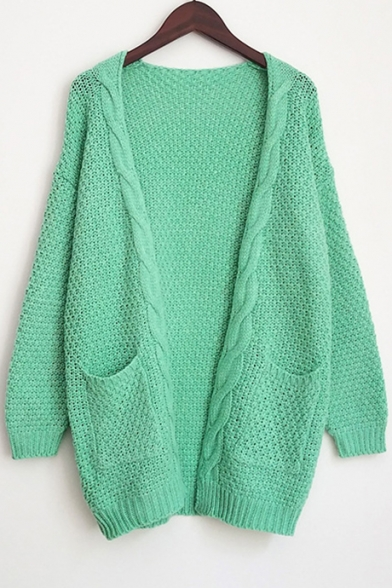... Fashion Cable Knit Open Front Long Sleeve Basic Simple Plain Cardigan  with Double Pockets ... 9495dd35d