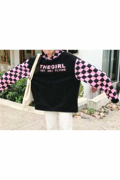 Style Letter Hop Unisex Block Loose Hip Color Oversize Hoodie Printed Plaids 75xHnw