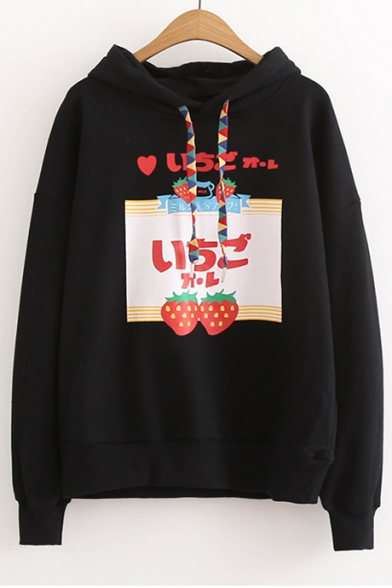 Hoodie Arrival Fashion Letter Loose Sleeve Strawberry New Long Pattern 67xnBFRRO