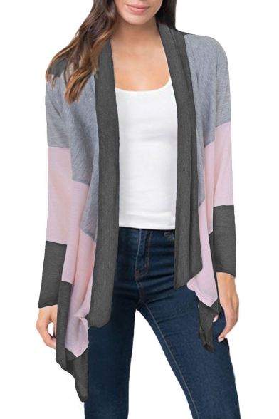 New Open Color Collection Leisure Block Front Long Sleeve Cardigan Fashion HrvSxqnWS