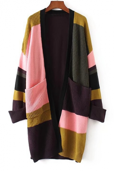 New Collection Fashion Color Block Open Front Long Sleeve Cardigan with Pockets, LC450885