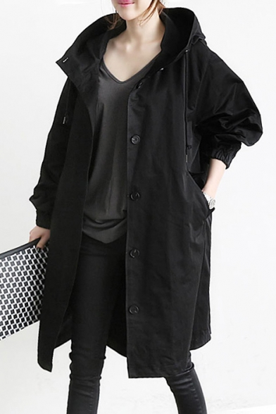 Long Plain Coat Pockets with Down Hooded Button Sleeve Oversize Trench wCIrCqgBax