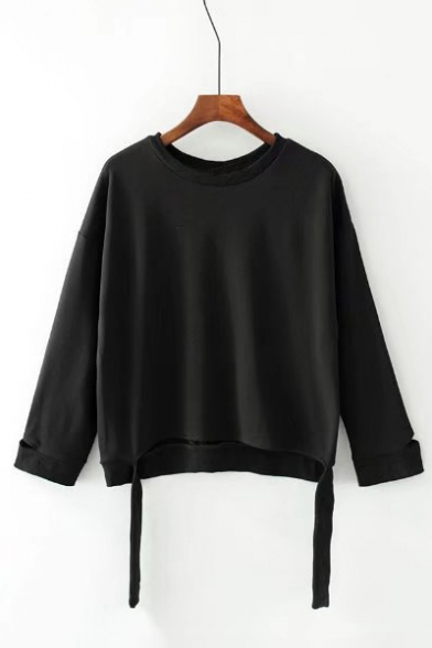 Plain Long Neck Embellished Hem Ribbons Round Sweatshirt Sleeve zqZgSYw
