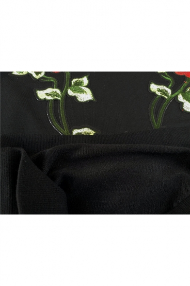 Sweatshirt Sleeve Neck Embroidered Round Rose Long nPRgYq