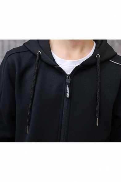 Simple Letter Pattern Long Sleeve Hooded Leisure Sports Zip Up Coat