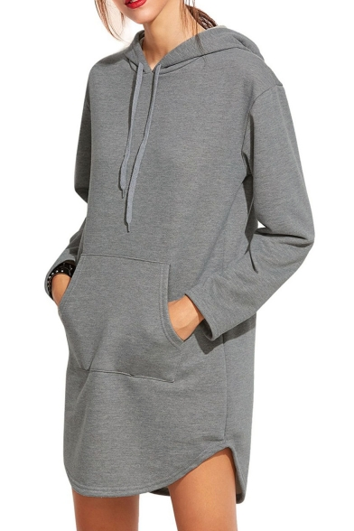 9af94bcd ... Simple Plain Long Sleeve Casual Sports Tunic Hoodie with Pockets ...