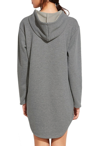 76b6006c ... Simple Plain Long Sleeve Casual Sports Tunic Hoodie with Pockets