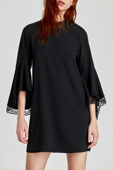 Stand-Up Collar Lace Panel Trumpet Sleeve Plain Mini Dress