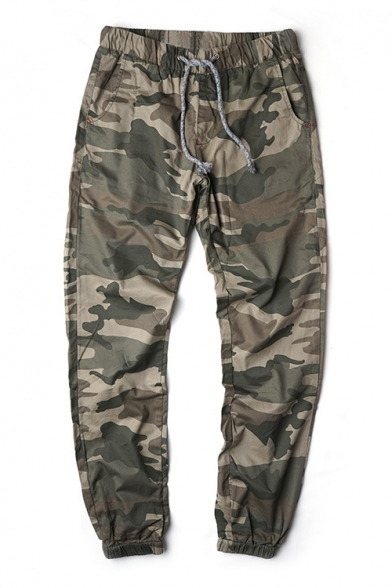 Summer's Casual Leisure Classic Camouflage Pattern Drawstring Waist Sports Pants