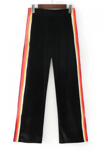 Chic Color Block Striped Side Elastic Waist Split Side Wide Leg Pants