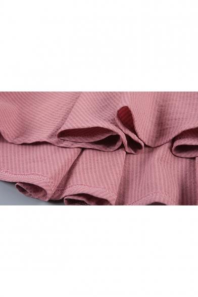 Chic Plain V-Neck Dipped Pleated Hem 3/4 Length Sleeve Blouse