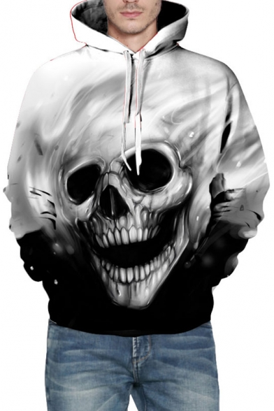 Block Color Skull Sleeve Unisex Hoodie Print Long Chic Hood Drawstring qpB1wOxtP