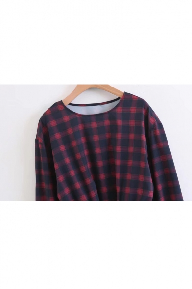 Classic Plaids Pattern Round Neck Long Sleeve Elastic Waist Pullover Blouse