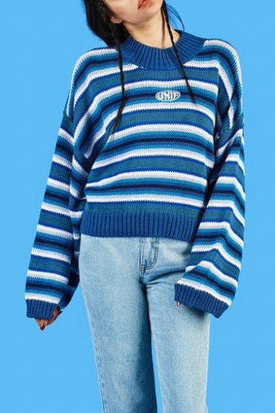 Striped ClassiC Sweater Neck Sleeve Retro Pullover Round Long wTTvqR5