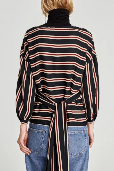 Classic Striped Pattern Fashion Wrap V Neck Long Sleeve Tied Back Blouse